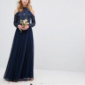 Maya embellished tulle maxi cold shoulder evening